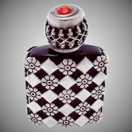 Vintage French France Sterling Silver Ruby Red Glass Miniature Perfume