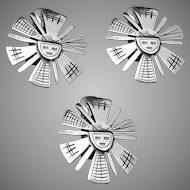 Vintage Laffi Peru Peruvian Sterling Silver Sun God Pin Earrings Set