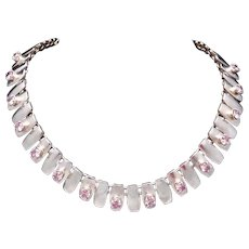 Vintage Taxco Mexico Mexican Modernist Sterling Silver Pink Stone Necklace