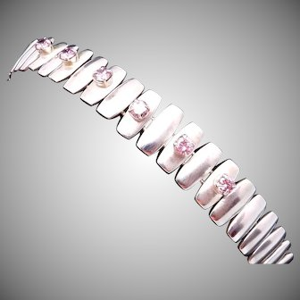 Vintage Taxco Mexico Mexican Modernist Sterling Silver Pink Stone Bracelet