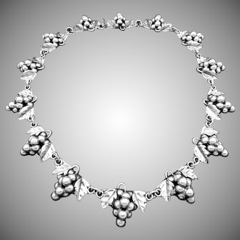 Vintage 1950s Aaron D. Taxco Mexico Mexican Sterling Silver Grape Necklace