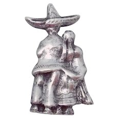 Rare Madelon 1930s Taxco Mexican Sterling Silver Peasant Man Woman Pin