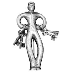 Rare Madelon 1930s Taxco Mexican Sterling Silver Jailer Bellhop Key Pin