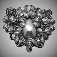 Vintage Victorian Irish Shamrock Clover Sterling Silver Large Pin