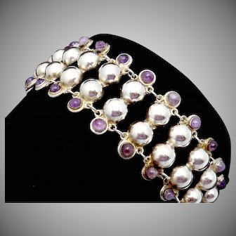 Vintage 1930s Taxco Mexican Sterling Silver Amethyst Wide Bubble Bracelet