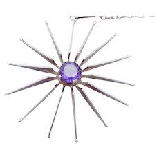 Modernist Taxco Mexican Sterling Silver Purple Gemstone Star Pendant Necklace
