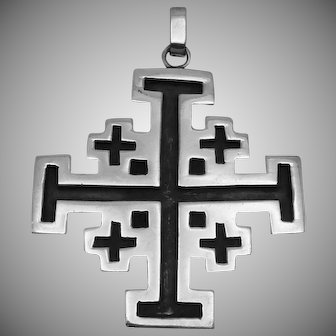 Vintage Katila Taxco Mexican Sterling Silver Heavy Cross Pendant