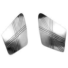 Vintage Sam Graves Tribal Southwest Sterling Silver Large Earrings