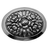 Vintage Kulik Kulikraft Hand Wrought Sterling Silver Rose Flower Oval Pin