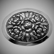 Vintage Kulik Kulikraft Hand Wrought Sterling Silver Rose Flower Oval Pin