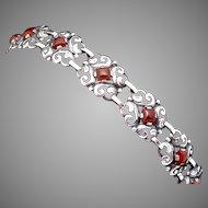Vintage Bauring Sterling Silver Carnelian Ornate Bracelet