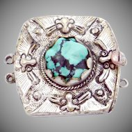 Vintage Chinese Silver Plated Turquoise Ornate Bracelet Necklace Clasp