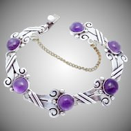 Vintage 1940s Taxco Linda Mexico Mexican Sterling Silver Amethyst Bracelet
