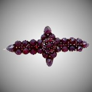 Antique Victorian Gilded Silver Bohemian Garnet Pin Brooch