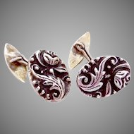 Victorian 800 Silver Ornate Rose Cufflinks Signed!