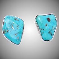 Vintage Southwestern Sterling Silver Turquoise Santa Fe Style Big Earrings