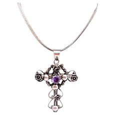 Vintage Taxco Mexican Sterling Silver Gemstone Fancy Cross Pendant Necklace