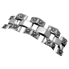 Vintage Taxco Mexican Sterling Silver Classic Ambriz Style Chunky Bracelet