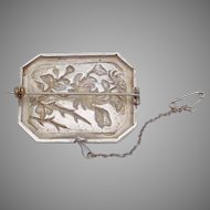 Vintage Chinese Asian Sterling Silver Hand Wrought Flower Pin