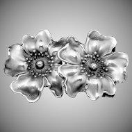 Victorian Art Nouveau Sterling Silver Flower Small Belt Bracelet Buckle