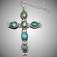 Vintage Taxco Mexican Sterling Silver Azure Malachite Cross Pendant Necklace