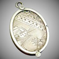 Victorian Gold Filled Etched Scenes Boat Castle Moon Fob Locket Pendant