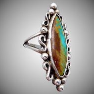 Vintage Ransom Cooyate Zuni Sterling Silver Turquoise Big Ring