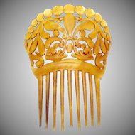 Antique Victorian Celluloid Faux Tortoise Large Ornate Hair Comb Ornament