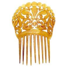 Antique Victorian Celluloid Faux Tortoise Large Ornate Hair Comb Ornament
