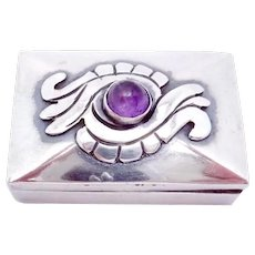 Vintage Taxco Mexico Mexican Sterling Silver Amethyst Pill Trinket Box