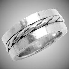 Vintage Hector Aguilar Taxco Mexico Mexican 990 Silver Thick Band Ring