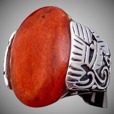 Vintage Peru South American Sterling Silver Polished Wood Big Ring Signed