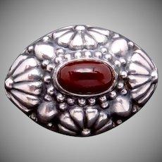 Victorian 800 Silver Bohemian Garnet Pin Brooch