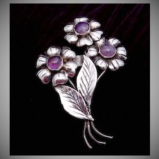 Vintage Taxco Mexico Mexican Sterling Silver Amethyst Flower Pin Early!