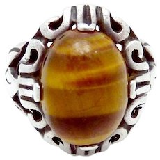 Vintage Carmen Beckmann Taxco Mexican Sterling Silver Tiger Eye Ring