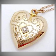 Vintage 12K Gold Filled Diamond Heart Locket Necklace Signed