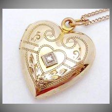 Vintage 12K Gold Filled Diamond Heart Locket Necklace Signed