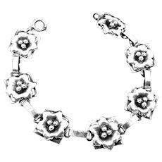 Vintage Raffaele Sterling Silver Narrow Floral Flower Bracelet