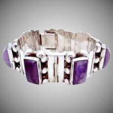 Vintage 1930s Taxco Mexican Sterling Silver Amethyst Chunky Bracelet