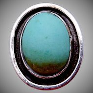 Vintage Carmen Beckmann Taxco Mexico Mexican Sterling Turquoise Big Ring