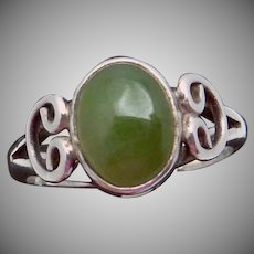 Vintage Carmen Beckmann Taxco Mexican Sterling Silver Jade Small Ring