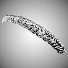 Vintage Chinese Asian Sterling Silver Slinky Heavy Dragon Bracelet