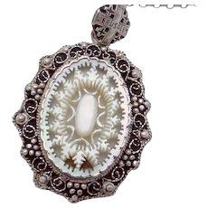 Vintage Jerusalem Sterling 935 Silver Carved Mother of Pearl Necklace