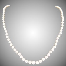 """Vintage Japan Japanese Mikimoto Graduated Pearl Necklace 20"""" Silver Clasp"""