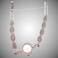 Vintage Omega Ladies Watch 14K White Gold Diamond Encrusted GF Band 24058