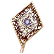 Vintage Art Deco 10K Gold Spinel Stickpin Stick Pin