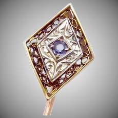 Vintage Art Deco 10K Gold Spinel Stickpin Stick Pin