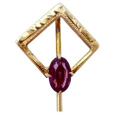 Vintage Art Deco 10K Gold Amethyst Glass Foster & Bailey Stickpin Stick Pin