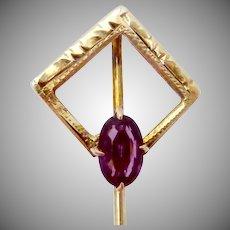 Vintage Art Deco 10K Gold Amethyst Glass Foster & Bailey Stickpin Stick Pin