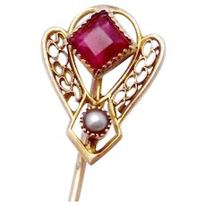 Vintage Victorian 10K Gold Ruby Red Glass Pearl Stickpin Stick Pin